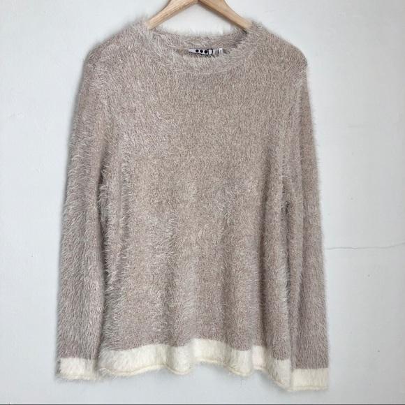 8db0cfec02 Three Dots Silk Blend Fuzzy Pullover Sweater Sz XL